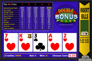 1 Hand Double Bonus Poker